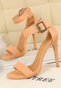 Sandales bout rond stylet boucle décontracté à talons hauts rose