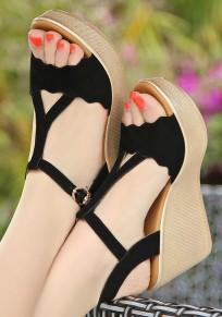 Sandalias cuñas de piscina boca hebilla casuales negro
