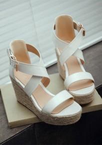 Sandales bout rond coins boucle décontracté blanc
