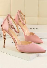 Sandalias punta punta estilete hebilla de moda de tacón alto rosa