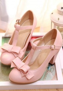 Pink Round Toe Chunky Bow Sweet High-Heeled Shoes