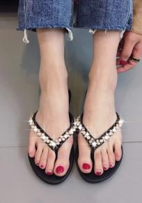 Black Round Toe Flat Rhinestone Pearl Casual Slippers
