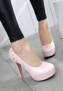 Chaussures bout rond gros river décontracté à talons hauts rose