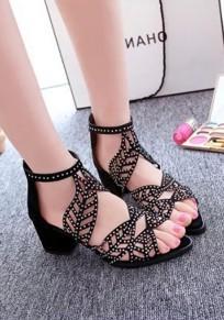 Sandales point de pointe gros mode strass à talons hauts noir