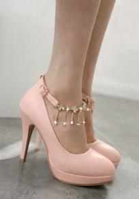 Rosa runde Zehe Stilett Strass Kette Mode High-Heels Schuhe