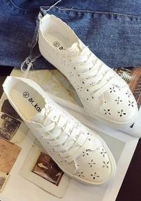 Zapatos punta redonda plana encaje A cielo abierto casuales blanco