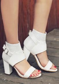 Sandalias punta redonda hebilla fornido cremallera de moda de tacón alto blanco