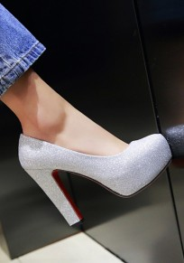 Silver Round Toe Chunky Casual High-Heeled Shoes