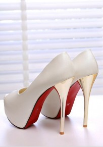 White Piscine Mouth Stiletto Fashion High-Heeled Sandals