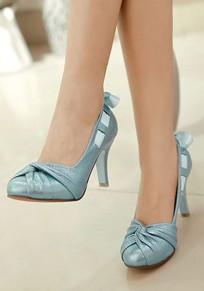 Zapatos punta redonda estilete corbata moda tacón alto azul