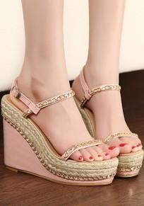 Sandales bout rond chaîne à cales boucle mode rose