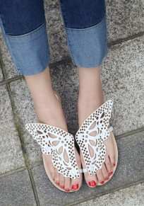 White Round Toe Flat Hollow-out Butterfly Wings Casual Slippers