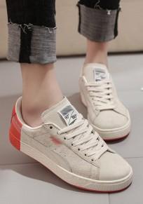Zapatos punta redonda de encaje plano casuales beige
