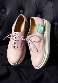 Pink Round Toe Flat Love Print Lace-up Casual Shoes