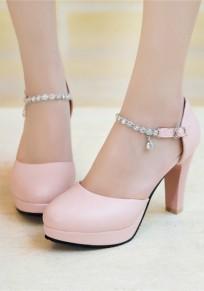Rosa Runde Zehe Klobig Strass Mode High-Heels Sandalen Fesselriemen High Heels Party Schuhe Damen