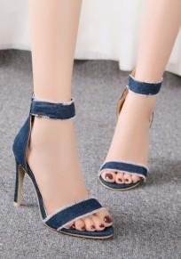 Dark Blue Round Toe Stiletto Zipper Fashion High-Heeled Sandals