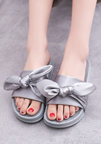 Grey Round Toe Flat Bow Casual Slippers
