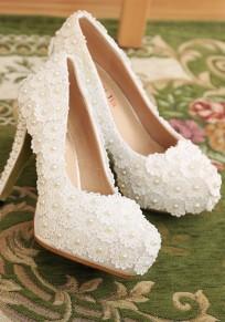 Zapatos punta redonda estilete flor perla de moda de tacón alto blanco