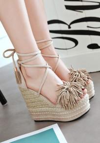 Sandales talon compensé avec à lacets frange cheville mode femme abricot