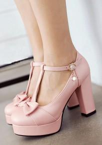 Chaussures bout rond grosse cravate boucle doux à talons hauts rose