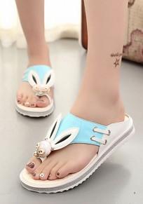 Blue Round Toe Flat Fashion Cartoon Slippers