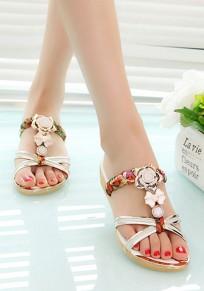 Golden Round Toe Flat Rhinestone Floral Print Fashion Slippers