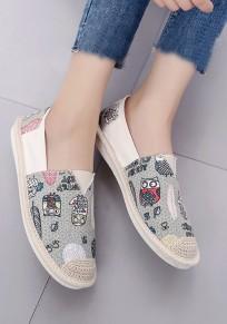 Beige Round Toe Flat Graffiti Casual Shoes