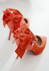 Zapatos punto de punta estilete de lazo de lazo de moda de tacón alto naranja