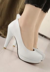 Zapatos punta redonda de tacón alto de tacón alto blanco
