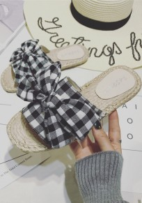 Black Round Toe Flat Bow Plaid Print Casual Slippers