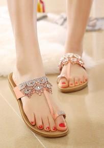 Pink Round Toe Flat Rhinestone Casual Slippers