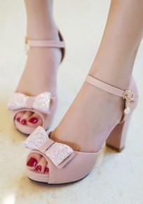 Sandalias boca de la piscina la corbata fornida corbata hebilla dulce de tacón alto rosa