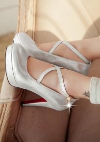 Zapatos punta redonda hebilla de tacón alto de tacón alto plata