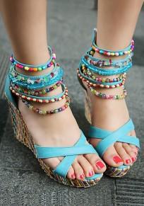 Sandalias punta redonda cuña cuentas de cremallera de moda azul