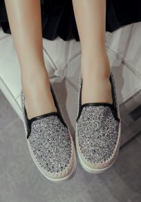 Black Round Toe Flat Casual Shoes
