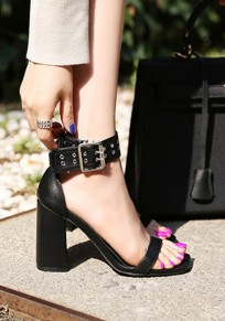 Black Square Toe Chunky Buckle Casual High-Heeled Sandals