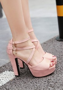 Pink Piscine Mouth Chunky Buckle Fashion High-Heeled Sandals