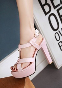 Pink Round Toe Chunky Rivet Buckle Casual High-Heeled Sandals