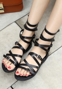 Black Round Toe Flat Cross Buckle Fashion Sandals
