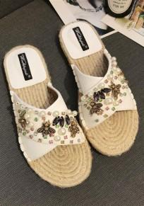 White Round Toe Flat Rhinestone Pearl Casual Slippers