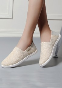 Beige Round Toe Flat Casual Cloth Shoes