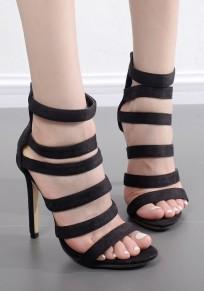 Black Round Toe Stiletto Zipper Casual High-Heeled Sandals