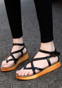 Black Round Toe Flat Buckle Casual Sandals