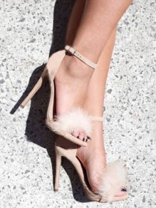 Apricot Round Toe Stiletto Faux Fur Patchwork Fashion Fluffy High-Heeled Sandals