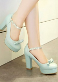 Zapatos punta redonda corpulento arco corbata diamante de imitación hebilla dulce de tacón alto azul claro