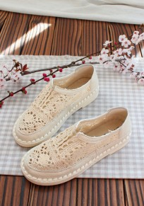 Beige Round Toe Flat Casual Mesh Shoes