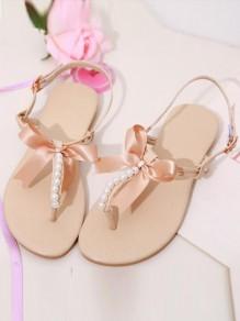 Beige Runde Zehe Schleife Perlen Zehentrenner Sommer Römer Knöchel Flache Sandalen Damen Schuhe