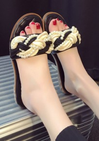 Black Round Toe Flat Beads Casual Slippers