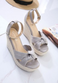 Grey Round Toe Wedges Bow Buckle Fashion Sandals