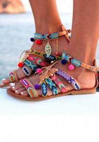 Sandali I pattini di pelliccia di pelliccia del faux della punta rotonda bordano la moda multicolore